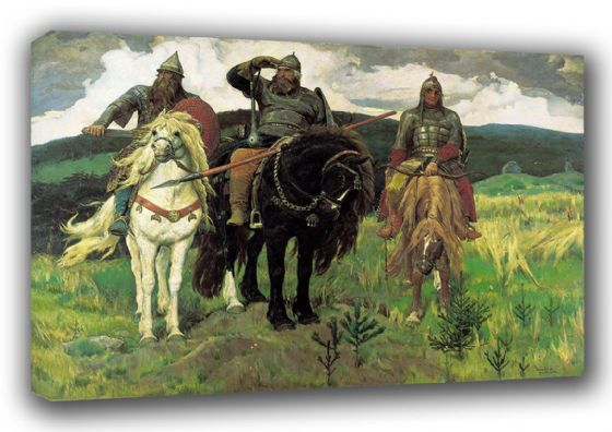 Vasnetsov, Viktor: Bogatyrs/Warrior Knights. (Russian Epic Heroes) Fine Art Canvas. Sizes: A3/A2/A1 (00582)